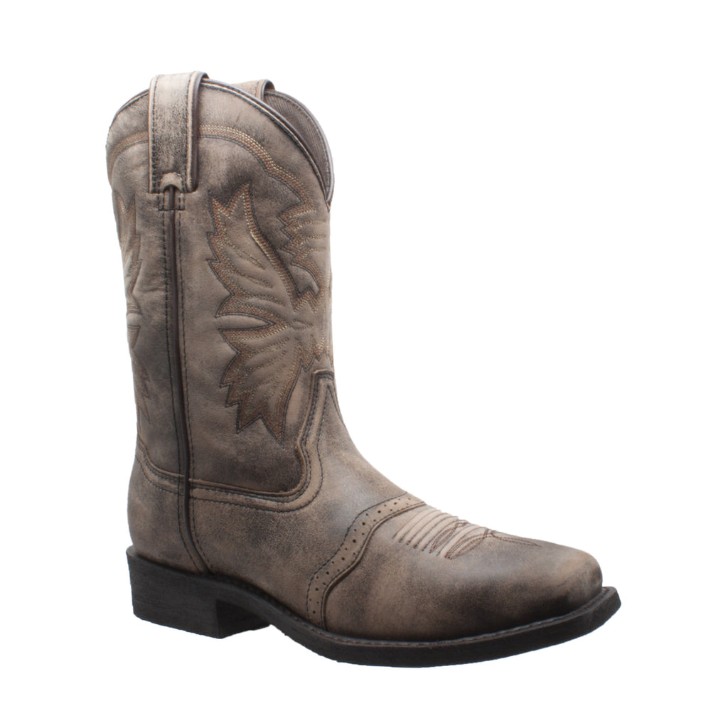 "1554-SBR Men's 11"" Square Toe Stonewashed Pull On Western Brown"