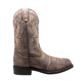 "Men's 11"" Square Toe Stonewashed Pull On Western Brown - 1554-SBR - Shop Genuine Leather men & women's boots online 