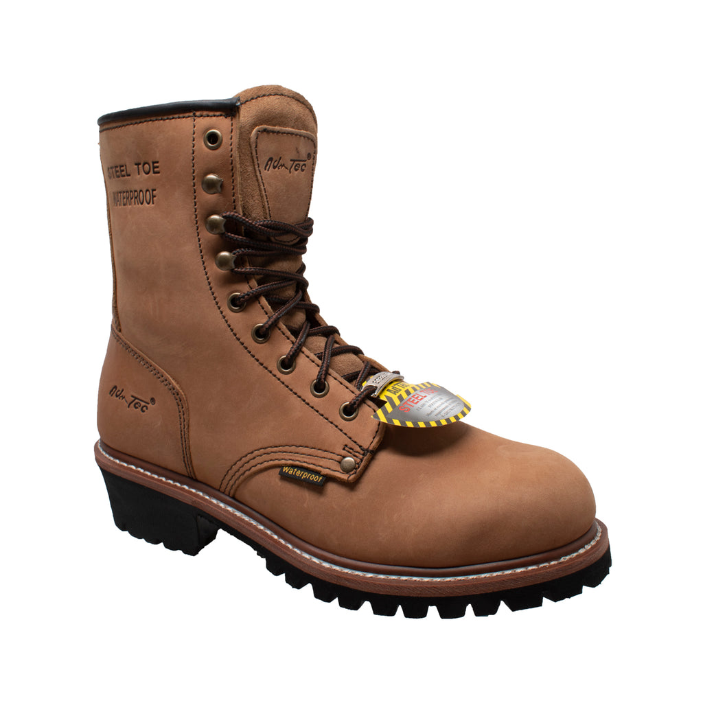 "1740WP Men's 9""  Brown Waterproof Steel Toe Logger"