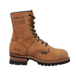 "Men's 9"" Brown Waterproof Steel Toe Logger - 1740WP - Shop Genuine Leather men & women's boots online 