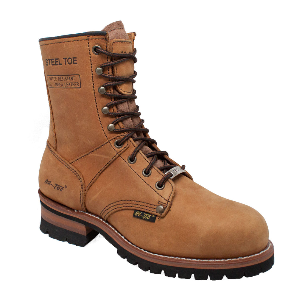 "Men's 9"" Brown Steel Toe Logger - 1740 - Shop Genuine Leather men & women's boots online 