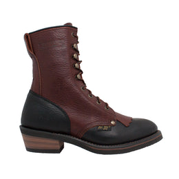"Women's 8"" Black/Dark Cherry Packer - 2179 - Shop Genuine Leather men & women's boots online 