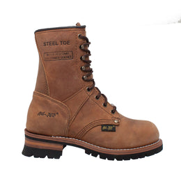 "Women's 9"" Brown Steel Toe Logger - 2426 - Shop Genuine Leather men & women's boots online 