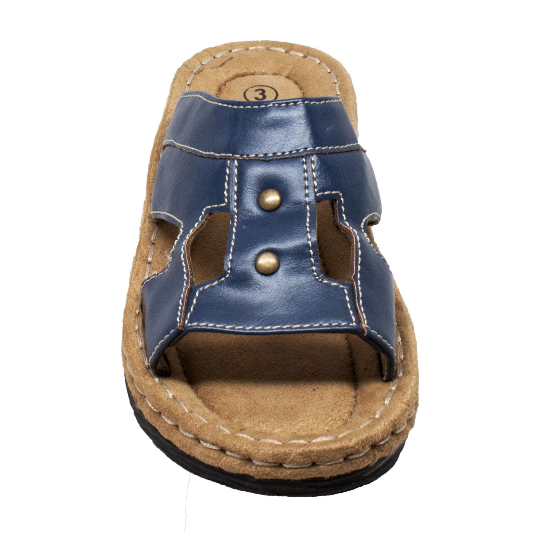 Children's Band Slide Sandal Navy - 6569-NV - Shop Genuine Leather men & women's boots online | AdTecFootWear