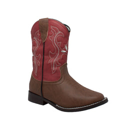"Children's 8"" Western Pull On Red - 6582 - Shop Genuine Leather men & women's boots online 
