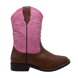 "Children's 8"" Western Pull On Pink - 6585 - Shop Genuine Leather men & women's boots online 