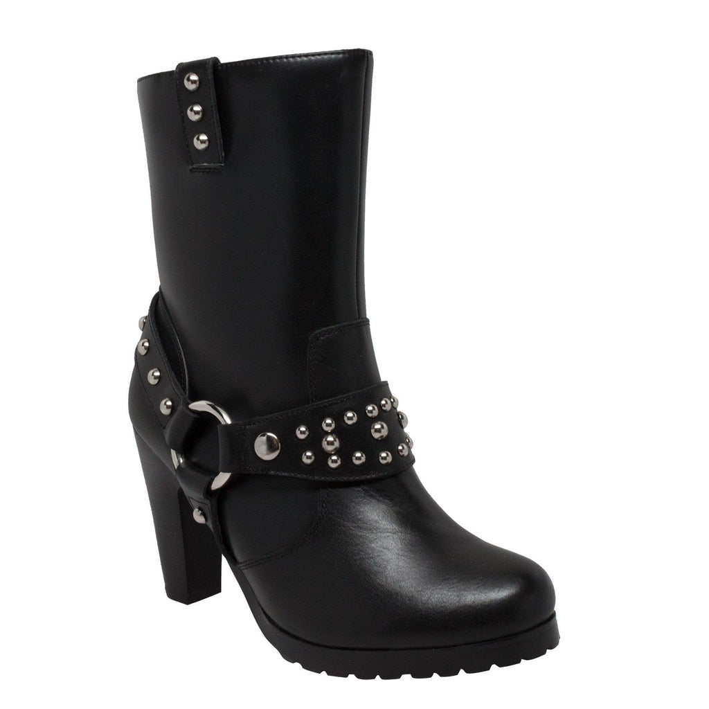 "8546 Women's 10"" Harness Biker Boot Black"