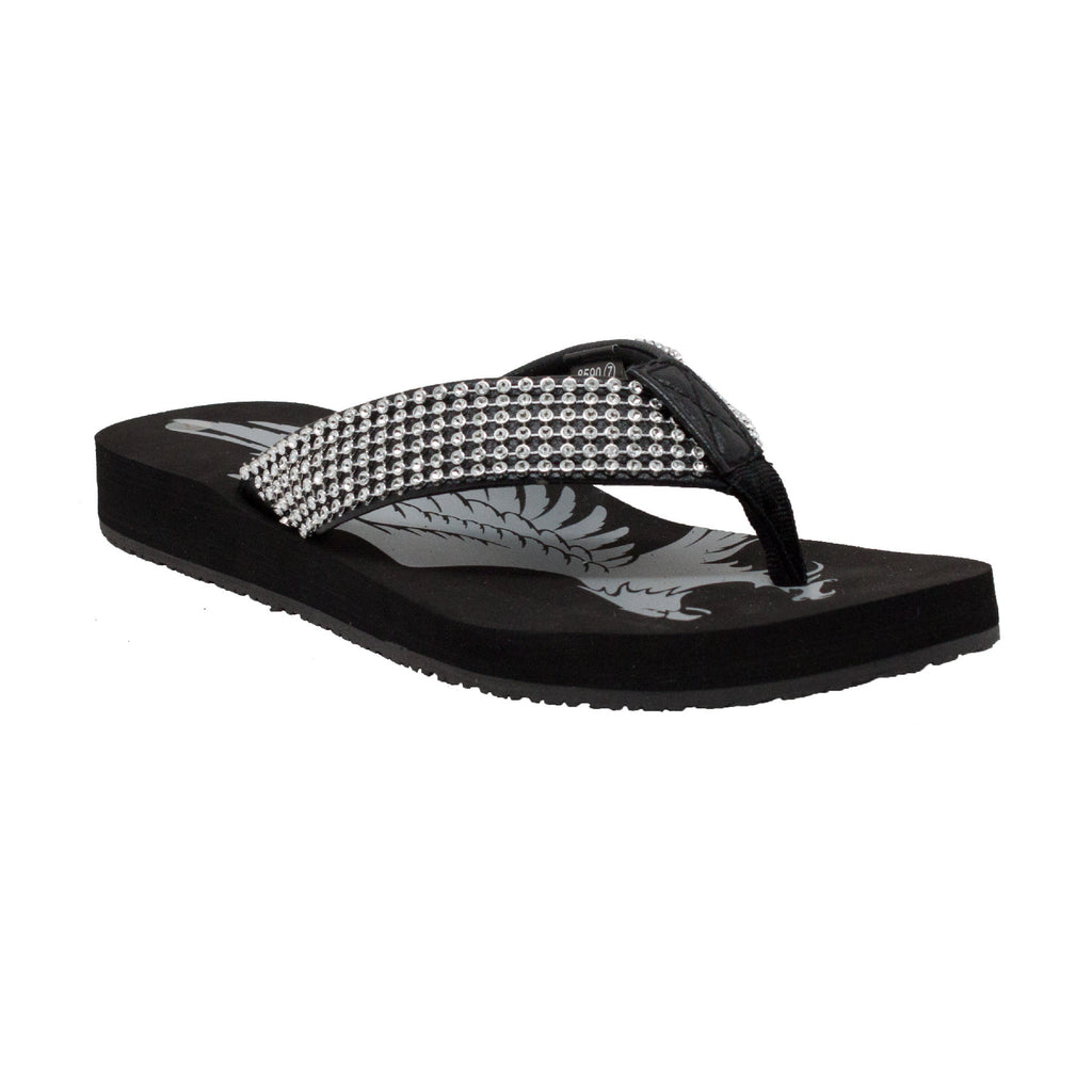 8590 Women's Jeweled Low Thong Sandal Black