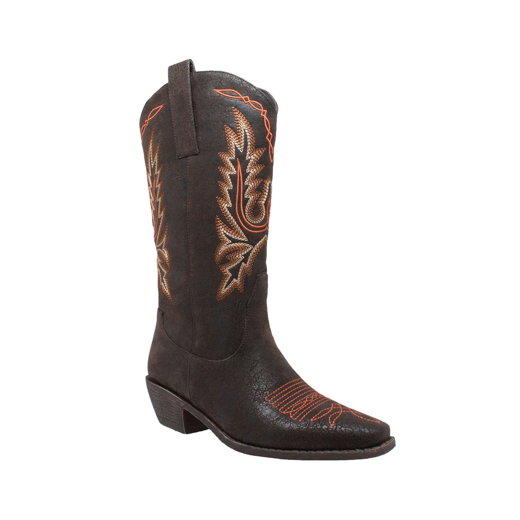 "8616 Women's 14"" Western Dark Brown Pull On Boots with Fancy Stitching"
