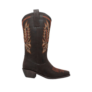 "Women's 14"" Western Dark Brown Pull On Boots with Fancy Stitching - 8616 - Shop Genuine Leather men & women's boots online 