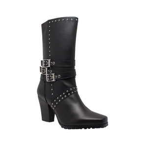 "Women's 12"" Heeled Buckle Boot Black - 8627 - Shop Genuine Leather men & women's boots online 