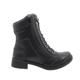 "Women's 8"" Zipper Biker Boot Black - 8650 - Shop Genuine Leather men & women's boots online 