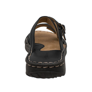 Women's 2 Buckle Slide Black - 8661 - Shop Genuine Leather men & women's boots online | AdTecFootWear