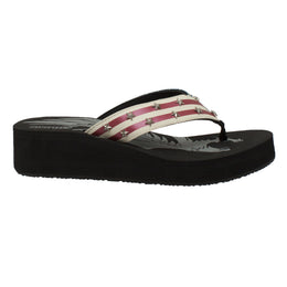 Women's Thong US Flag Sandal Black - 8663 - Shop Genuine Leather men & women's boots online | AdTecFootWear