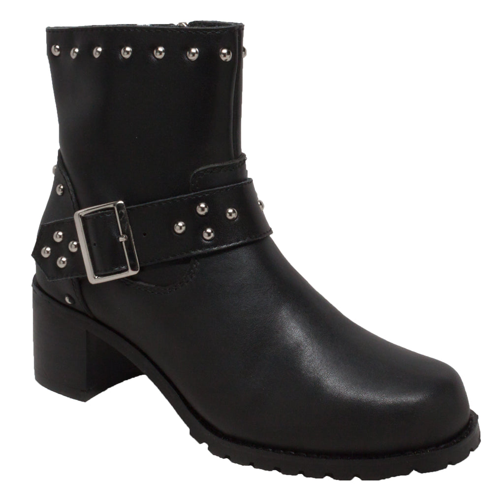 "8811 Women's 6"" Heeled Buckle Biker Boot Black"