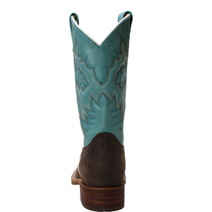 "Women 11"" Aqua Western Square Toe Boots - 8875 - Shop Genuine Leather men & women's boots online 