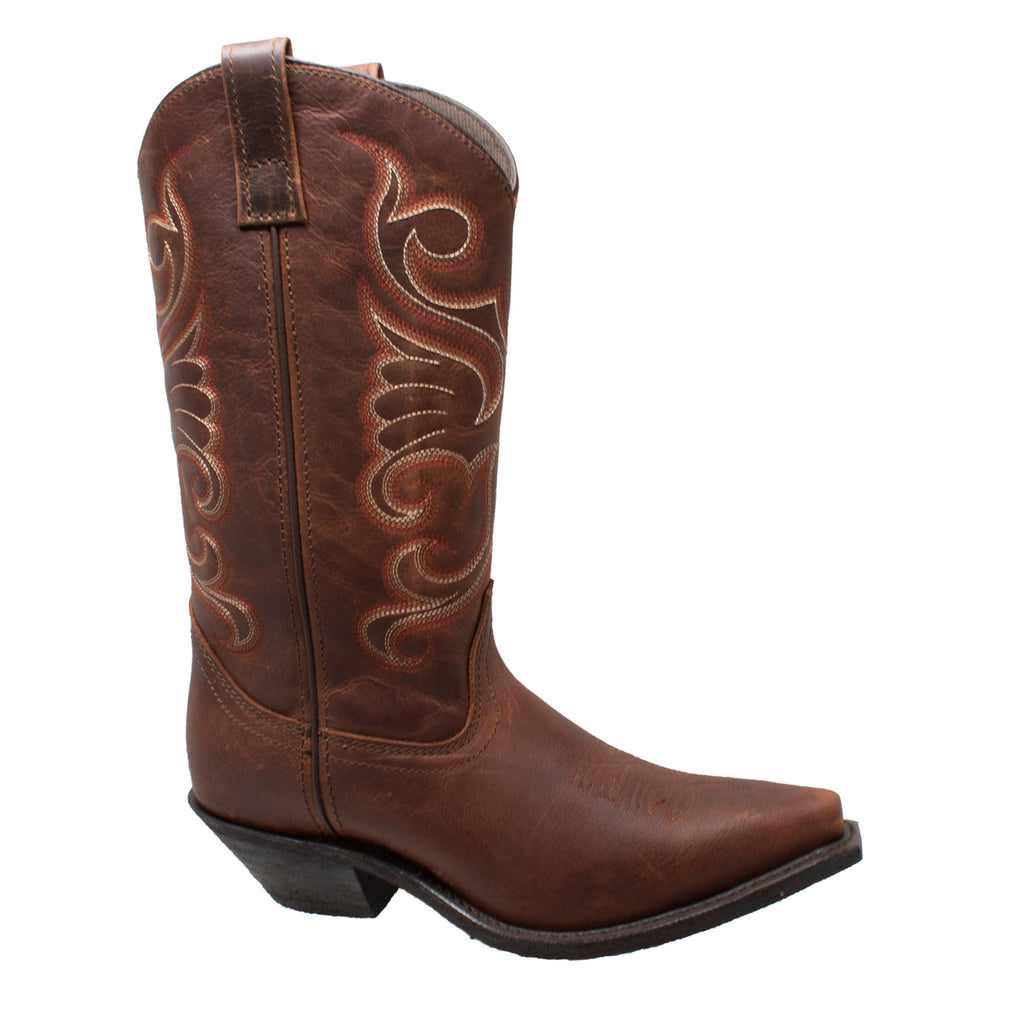"Women 12"" Full Grain Oiled Brown Leather Western Boots - 8877 - Shop Genuine Leather men & women's boots online 