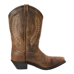 "Women 11"" Brown Crazy Horse Point Toe Western Boots - 8878 - Shop Genuine Leather men & women's boots online 