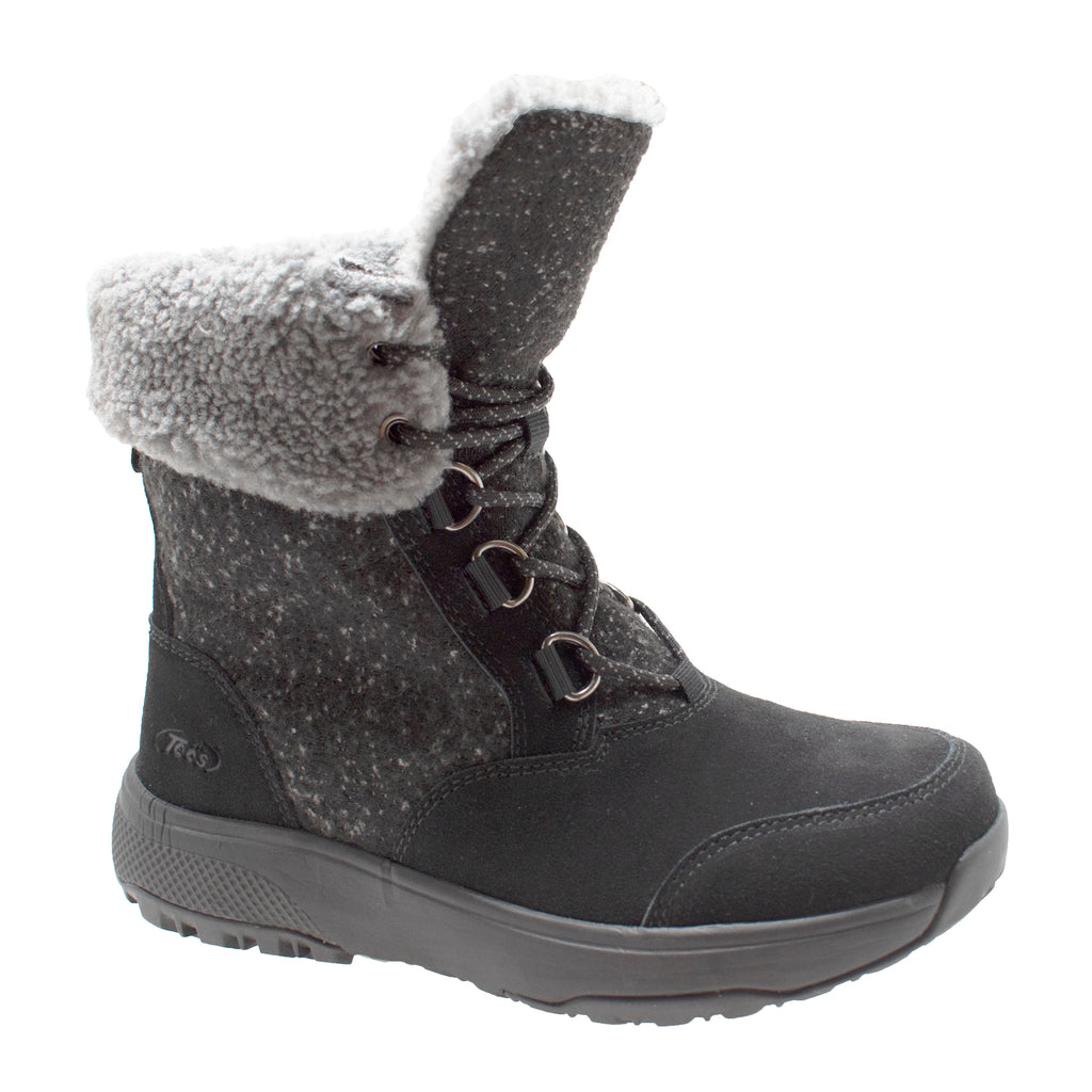 Women's Black Microfleece Lace Winter Boot - Shop Genuine Leather men & women's boots online | AdTecFootWear