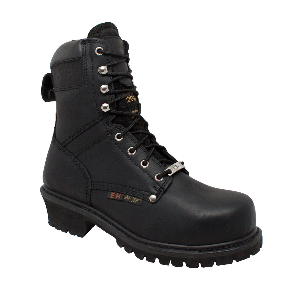"Men's 9"" Waterproof Super Logger Black - 9491 - Shop Genuine Leather men & women's boots online 