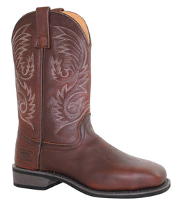 "Men's 11"" Steel Square Toe Western Pull On Brown - 9555 - Shop Genuine Leather men & women's boots online 