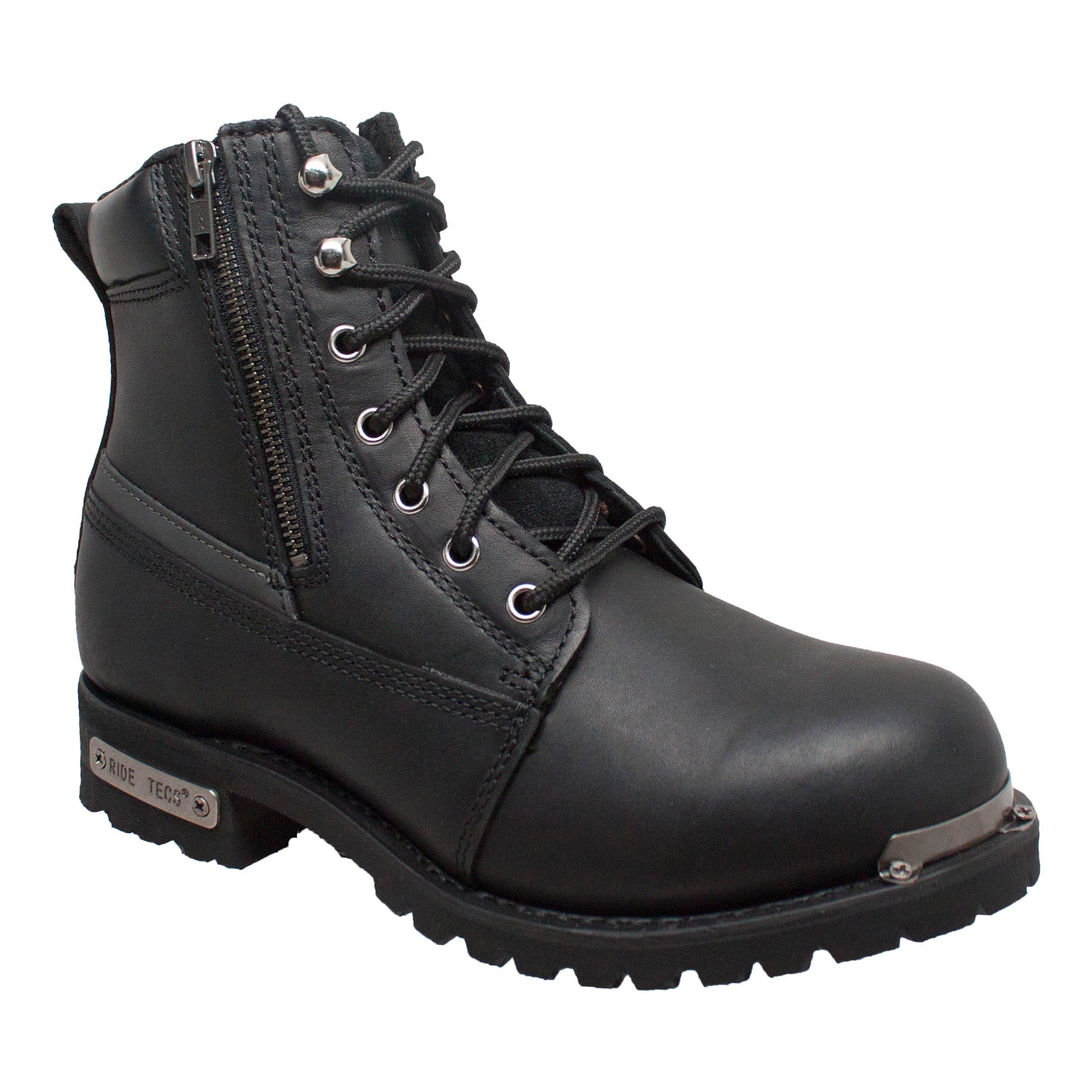 "Men's 6"" Reflective Double Zipper Biker Black - 9797 - Shop Genuine Leather men & women's boots online 