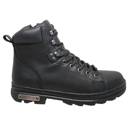 "Men's 6"" Zipper Lace Biker Black - 9807 - Shop Genuine Leather men & women's boots online 