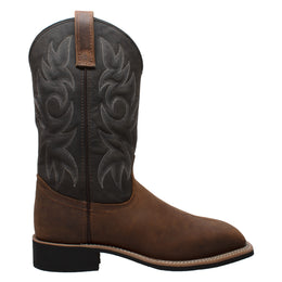 "Men's 12"" Work Western Square Toe Black/Brown - 9859 - Shop Genuine Leather men & women's boots online 