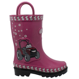 "Toddler's 3D ""Fern Farmall"" Rubber Boot Pink - CI-5004 - Shop Genuine Leather men & women's boots online 