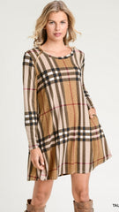 Taupe Plaid Long Sleeve Dress - Midnight Magnolia Boutique