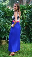 Sail Away Royal Blue With Striped Top Maxi Dress - Midnight Magnolia Boutique