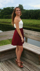 Kickoff the Party Strapless Gameday Dress - Garnet/Ivory - Midnight Magnolia Boutique