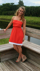 Orange Burst Strapless Gameday Dress - Midnight Magnolia Boutique