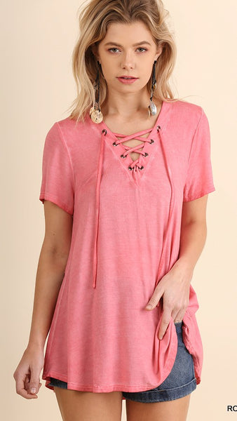 Rose Washed V-Neck Top with Lace Up - Midnight Magnolia Boutique