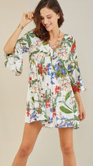 Ivory Floral Print Dress or Tunic - Midnight Magnolia Boutique