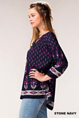 Backyard Party Navy Print Top - Midnight Magnolia Boutique