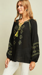 Black Embroidered Long Sleeve Tie Top