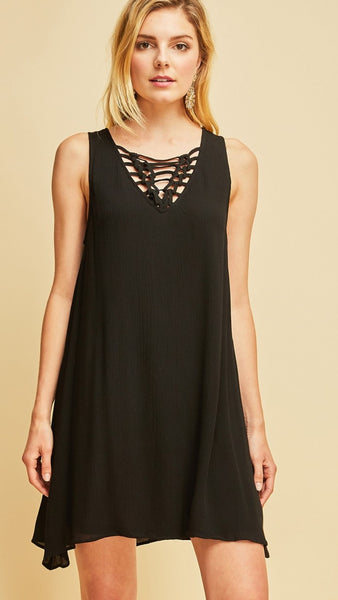 Black Solid Sleeveless Dress with Tassels in Back - Midnight Magnolia Boutique