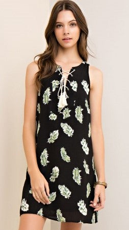 Black Feather Print Dress with Lace Up Detail - Midnight Magnolia Boutique