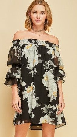 Black Floral Off Shoulder Dress - Midnight Magnolia Boutique