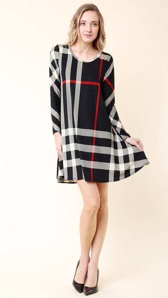 Black, White & Red Plaid Swing Dress - Midnight Magnolia Boutique
