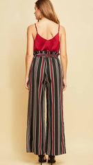 Black, White & Red Paperbag Striped Pants - Midnight Magnolia Boutique