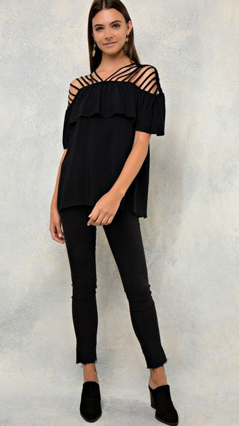 Black Solid Ruffled Strappy Shoulder Top - Midnight Magnolia Boutique