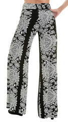 Black & White Damask Print Palazzo Pants - Midnight Magnolia Boutique