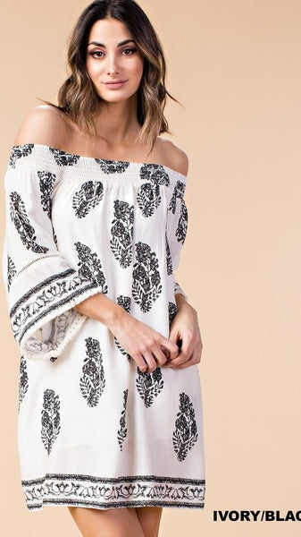 Black & Ivory Off Shoulder Tunic or Dress - Midnight Magnolia Boutique