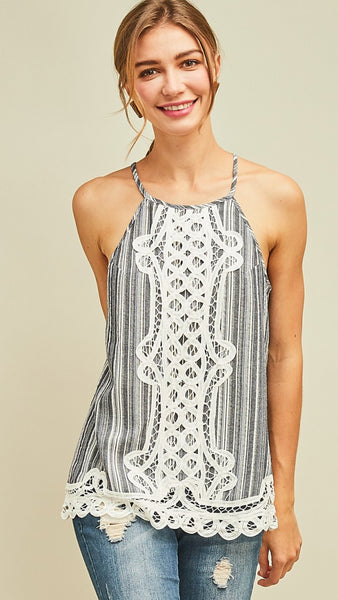 Black & White Stripe Denim Sleeveless Top with Lace - Midnight Magnolia Boutique
