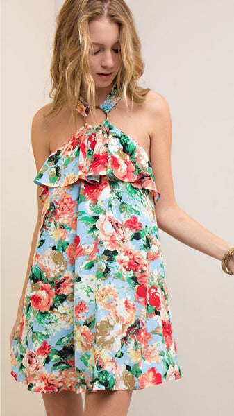Light Blue Floral Print Halter Style Dress with Brass Ring Detail