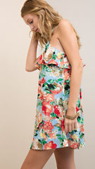 Light Blue Floral Print Halter Style Dress with Brass Ring Detail - Midnight Magnolia Boutique