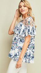 Royal Blue & White Floral with Cage Shoulder Straps - Midnight Magnolia Boutique