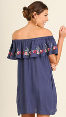 Navy Ruffled Off the Shoulder Summer Dress or Tunic with Floral Embroidery Details
